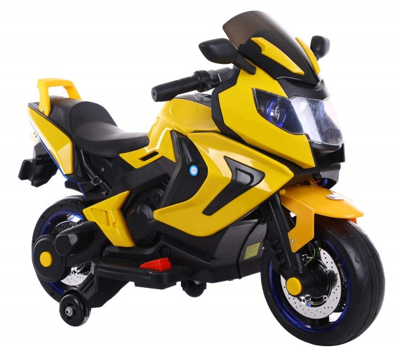 Valentina 3188 Racer Electric Bike 12V Battery Operated Ride on Bike for Kids, Hand Accelerator(3to7) yellow