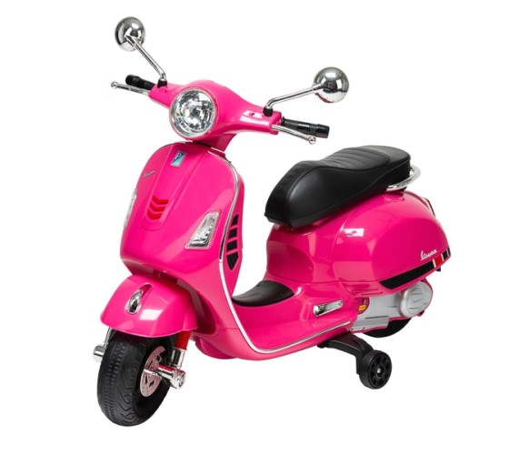 12V Vespa Rechargeable Battery Operated Ride-on Scooter for Kids (3 to 7 Years) Double Batteries. Pink