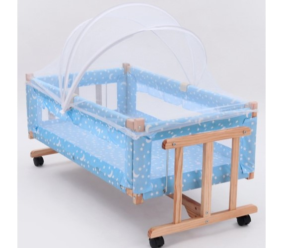 PP INFINITY New Born Baby Wooden Cradle With Mosquito Net - Blue