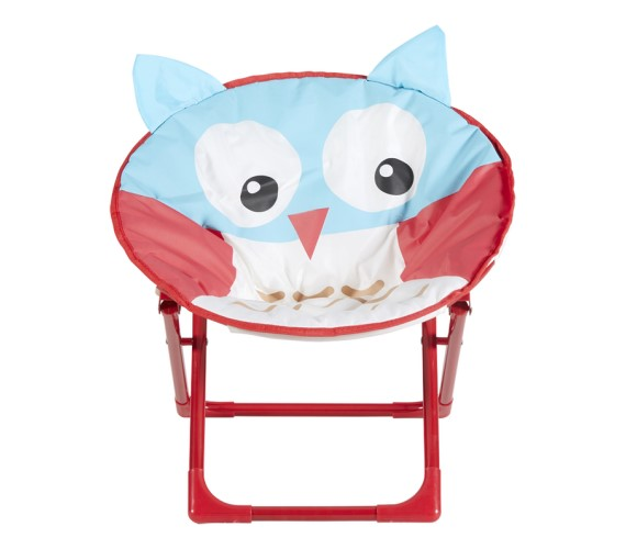 PP INFINITY Moon Chair Owl Face Printed For Kids Portable Folding Picnic and Home Used Chair for Boys & Girls (Multicolur)