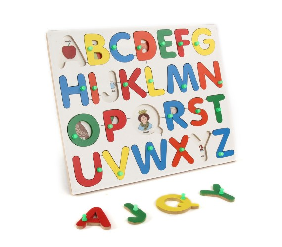 Wooden English Alphabet Picture Match Puzzle With Knobs, Educational Puzzle for Kids (Multicolor)