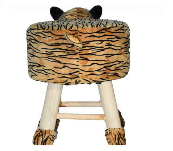 PP INFINITY Wooden Animal Stool for Kids (Tiger) | with Removable Soft Fabric Cover (Yellow) chair