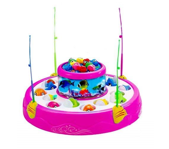 Musical Fishing Game Big Size With 26 Fishes and 4 Pods, Includes Music and Lights-Multicolor