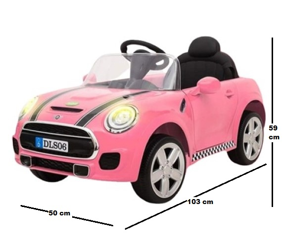 12V MINI Cooper Battery Operated Car For Kids - DLS06 Pink