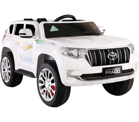 Prado 12V Battery Operated Ride on  Jeep for Kids 2 to 7 Years with Remote Control, Lights and Music System,(White)