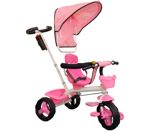 Baby Tricycle For Kids 1-3 Years With Rubber Wheels, Kids Tricycle Parental Control Handle(Pink)