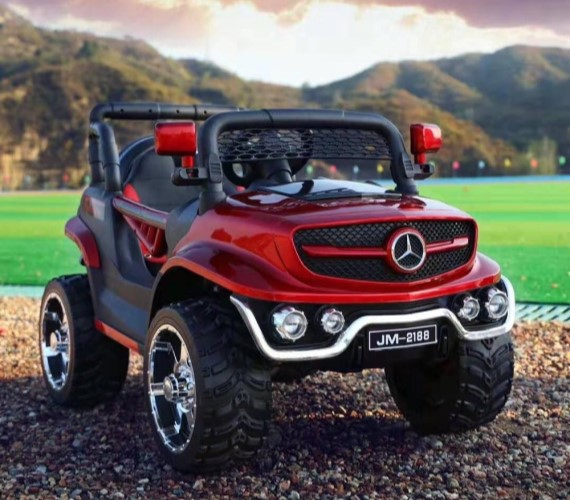 JM 2188 Battery Operated Ride on Jeep for Kids With Remote Control (Metallic Red)
